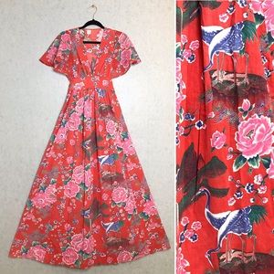 Vintage | Red Botanical Floral & Bird Print Dress